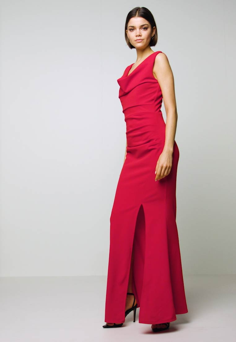 WAL G. - COWELL NECK MAXI DRESS WITH SLIT - Suknia balowa - red - 1