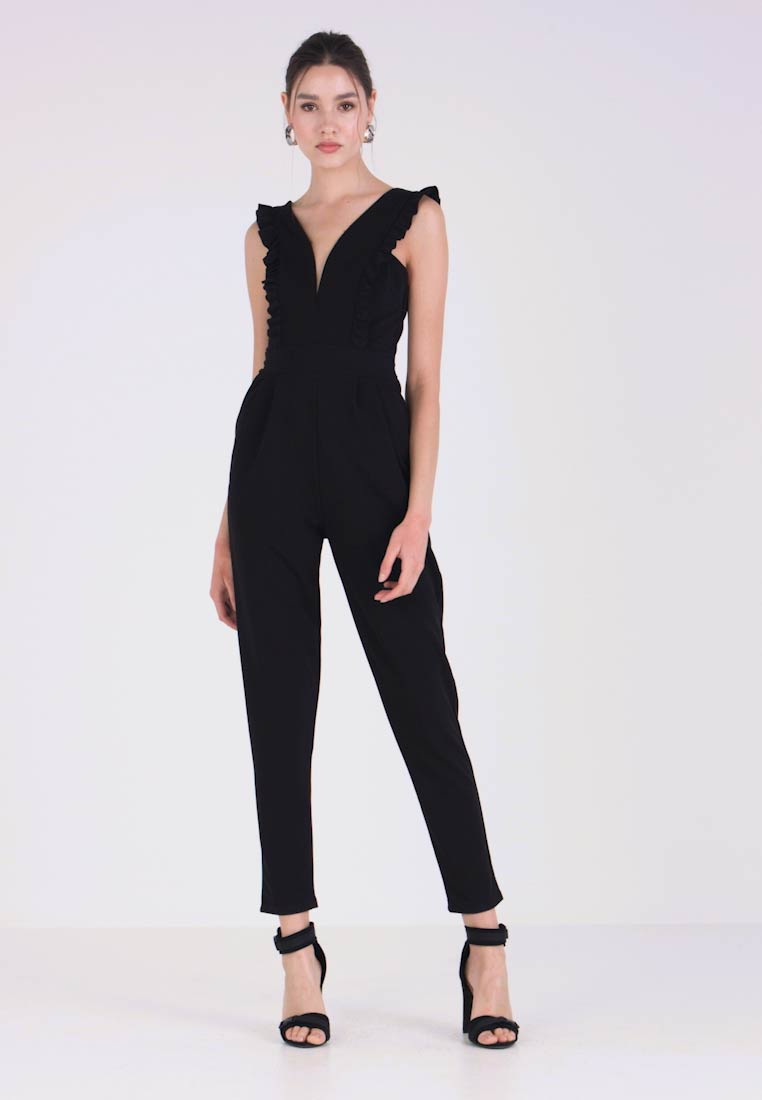 WAL G. - FRILL SLEEVE PLUNGE - Jumpsuit - black - 1