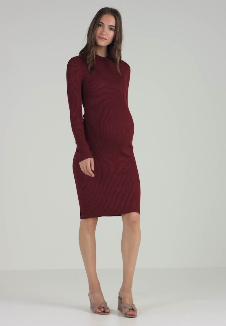 Zalando Essentials Maternity - HIGH NECK LONG - Strikkjoler - syrah - 1