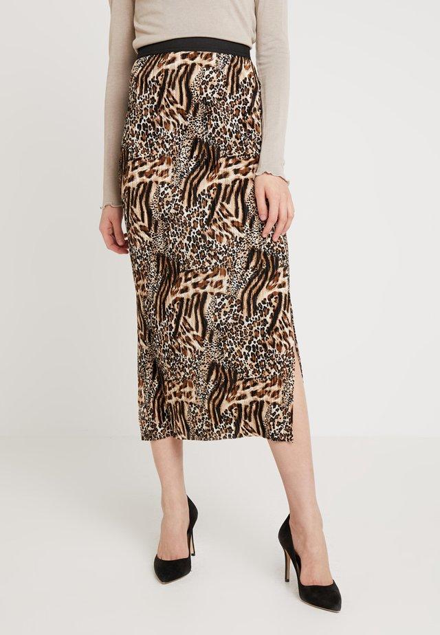 MIX ANIMALPLISSE MIDI SKIRT - Pleated skirt - brown
