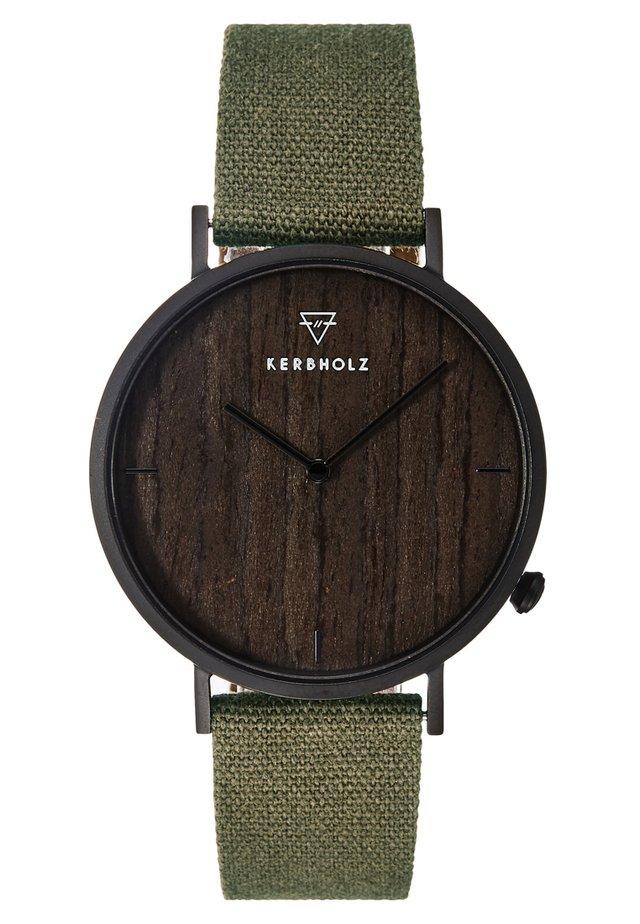 HENRI - Reloj - black/darkwood/olive