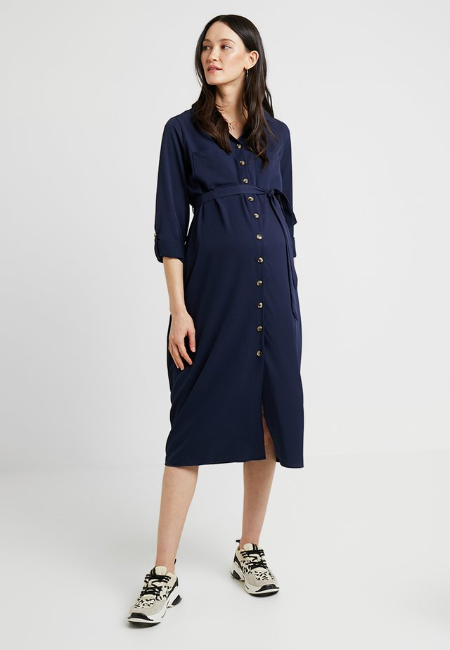 PLAIN LONG SLEEVE DRESS - Robe chemise - navy