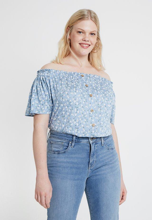 BUTTON THROUGH BARDOT - Print T-shirt - blue