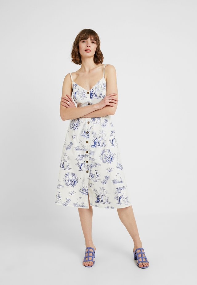 POPLIN BUTTON MIDI DRESS - Robe d'été - multi blue