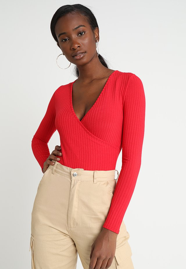 CARLY LONG SLEEVE WRAP BODY - Pitkähihainen paita - red