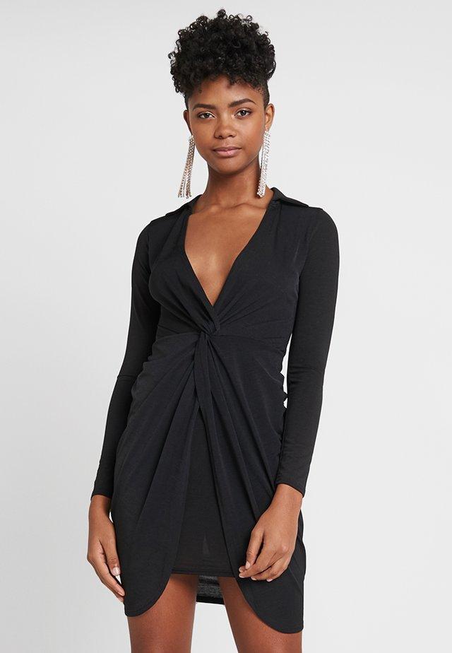 COLLAR TWIST BODYCON - Sukienka z dżerseju - black