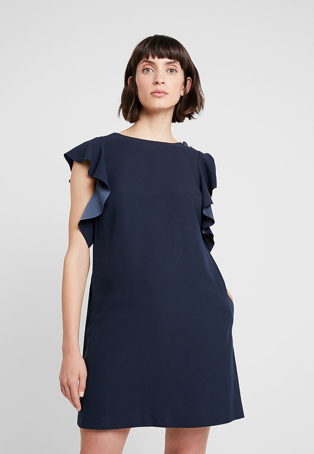 RUFFLE SOLID SHIFT - Day dress - preppy navy