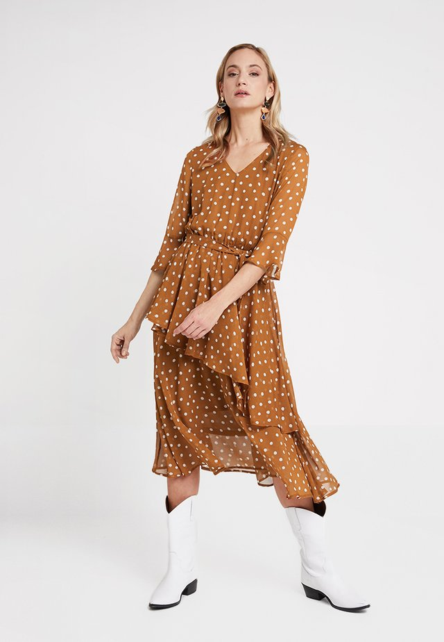 ILARIA LONG DOT DRESS - Day dress - toffe brown