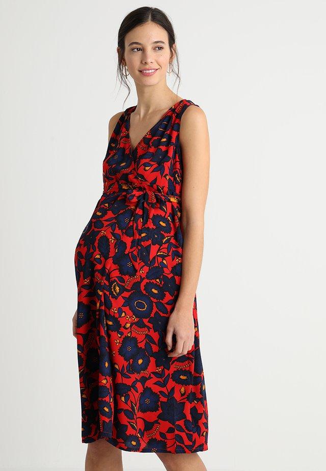 FLORAL WRAP TIE DRESS - Hverdagskjoler - red
