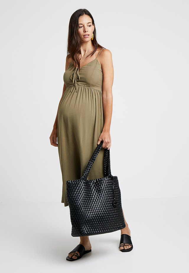 PLAIN LATTICE FRONT MIDI - Freizeitkleid - khaki