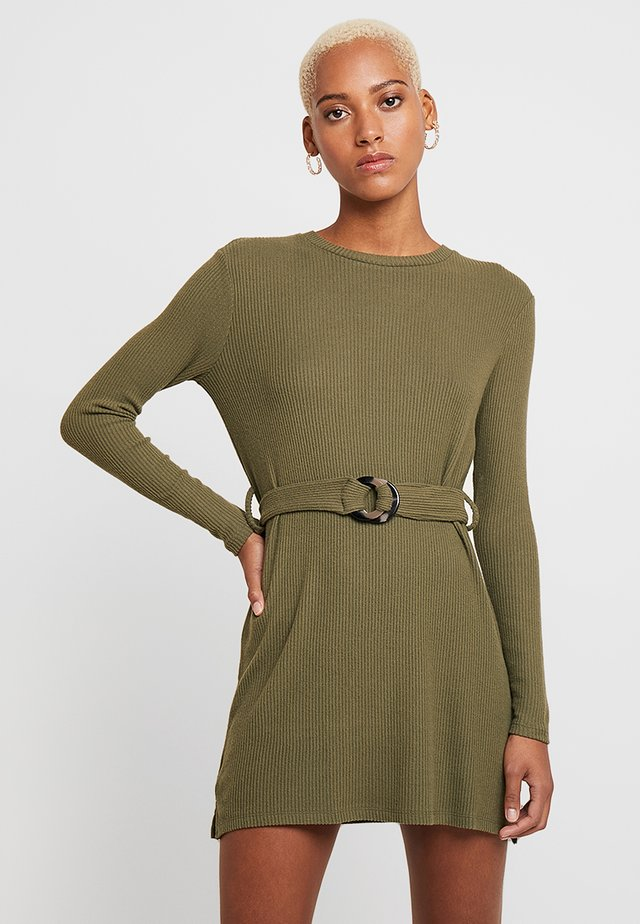 CUT AND SEW BELTED MINI - Gebreide jurk - khaki