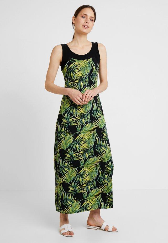 JUNGLE PALM BLOCKED DRESS MAY - Maxi-jurk - black