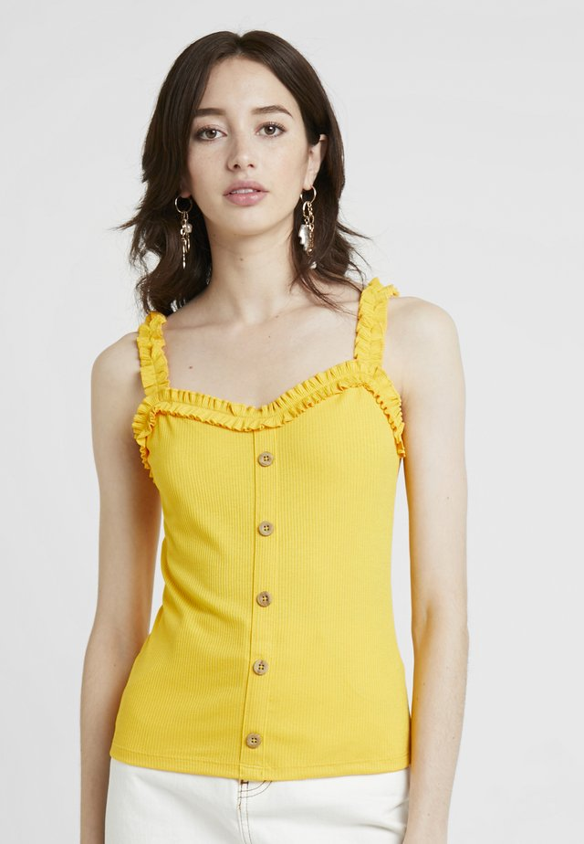 FRILL BUTTON THROUGH - Toppe - ochre
