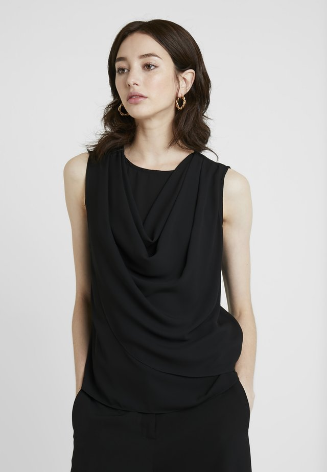 SLEEVELESS COWL NECK - Bluzka - black