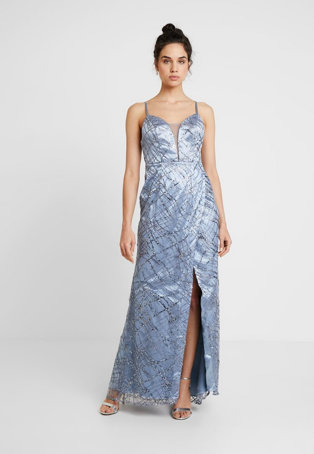 ALL OVER GLITTER CAMI MAXI WITH PLUNGE FRONT - Ballkjole - blue