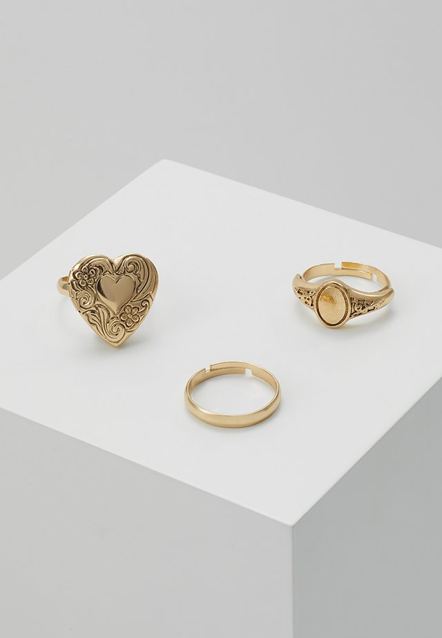 HEART LOCKET RING 3 PACK - Ringe - gold-coloured