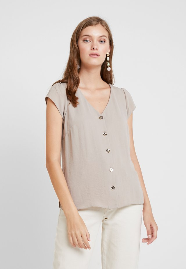 BUTTON FRONT PLAIN SHELL - Blusa - stone