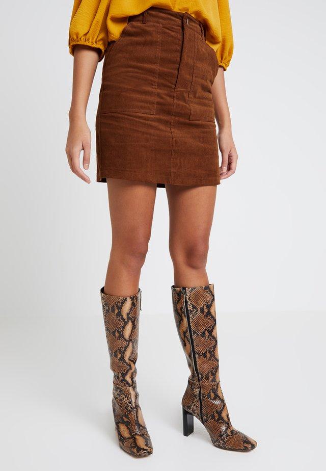 BUTTON FRONT SKIRT - Mini skirt - tan
