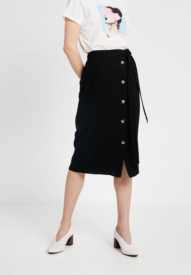 BUTTON FRONT SKIRT - A-line skirt - black