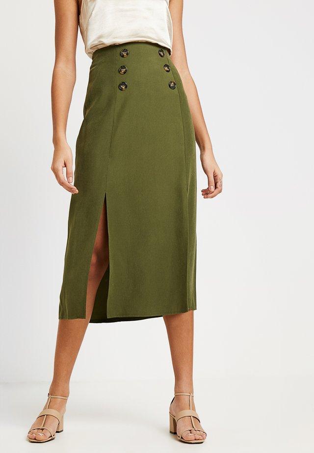 CUPRA BUTTON SKIRT - A-line skirt - khaki