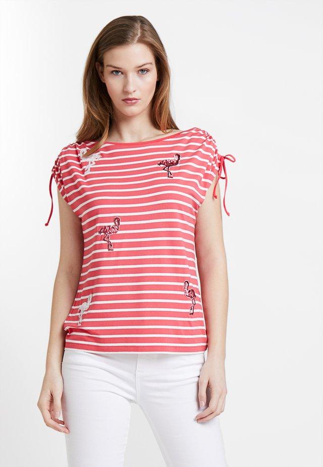 Print T-shirt - flamingo/ offwhite