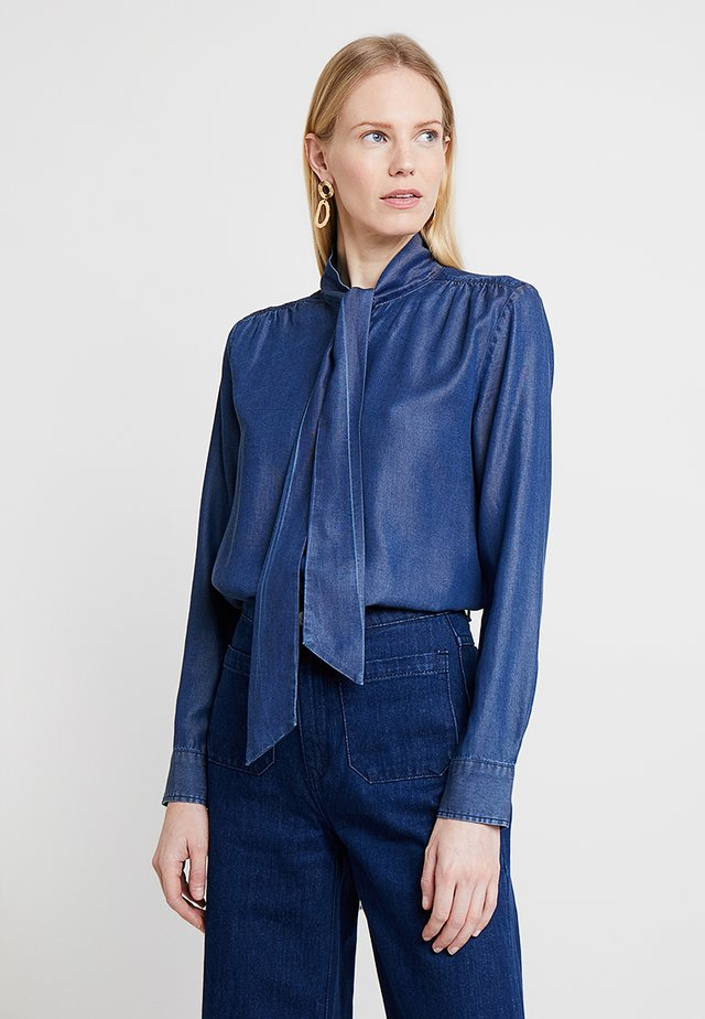 CHAMBRAY BOW BLOUSE - Camisa - dark indigo