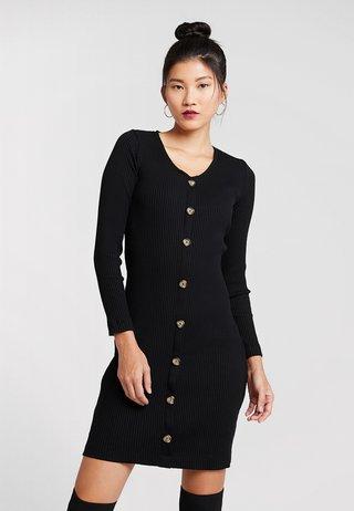 HORN BUTTON BODYCON - Jersey dress - black