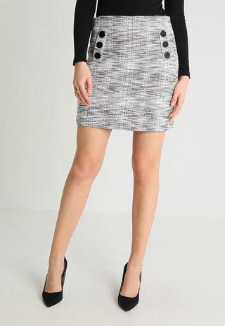 MONO TEXTURED BUTTON FRONT SKIRT - Blyantnederdel / pencil skirts - black