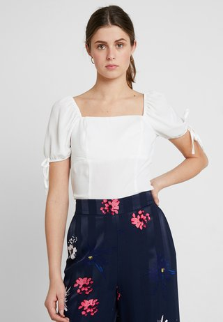 SQUARE NECK TIE SLEEVE  - Bluse - off white
