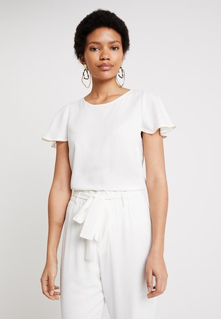 GOLD TRIM RUFFLE SLEEVE - Blouse - ivory
