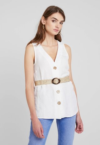 KIMMY BELTED TOP - Blouse - white