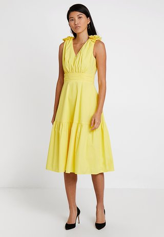 DRESS WITH FLOWERS - Cocktail dress / Party dress - yellow