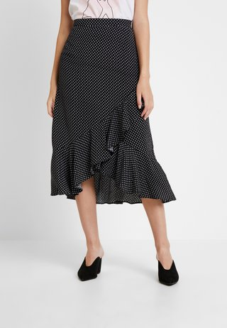 WRAP MIDI - Wrap skirt - black