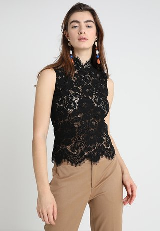 STAND UP COLLAR - Blouse - black