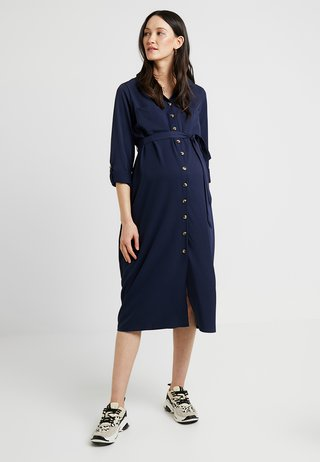 PLAIN LONG SLEEVE DRESS - Blusenkleid - navy