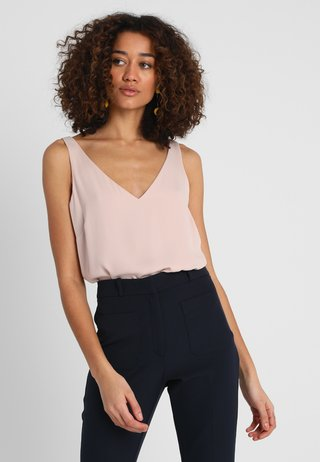 V NECK CAMI - Bluse - blush/smoke pink