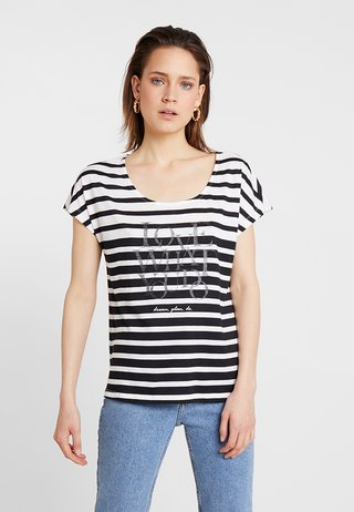 T-Shirt print - black/cream