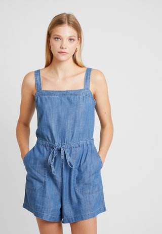 APRON ROMPER - Jumpsuit - medium indigo