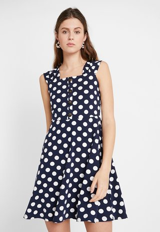 RUCHED STRAP SPOT FIT AND FLARE - Jerseykleid - navy