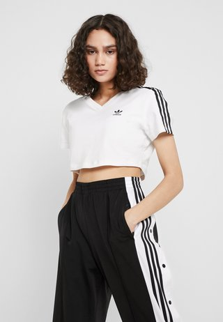 CROPPED TEE - T-Shirt print - white