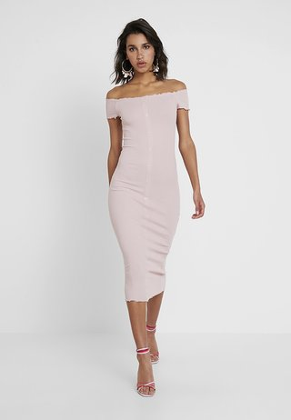 FRILL EDGE POPPER BARDOT - Day dress - nude