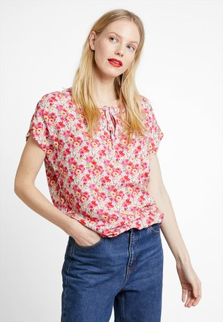 TIE BLOUSE WITH ELASTIC WAIST - Bluse - pink
