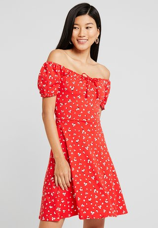 DITSY SCOOP NECK GYPSY DRESS - Jerseykjoler - red