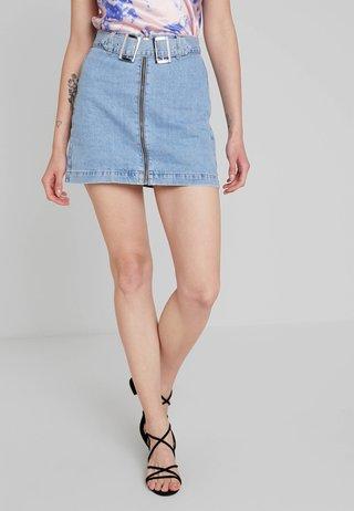 DOUBLE BUCKLE - Denimová sukně - blue denim