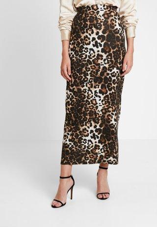 ANIMAL PRINT SKIRT - Maxi skirt - brown