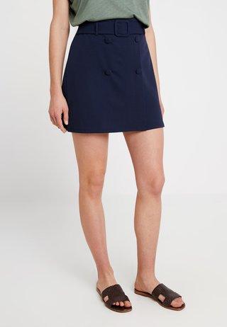 SELF BELT BUTTON - A-line skirt - navy