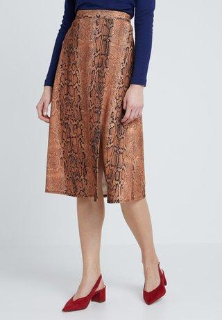 SNAKE PRINT SPLIT FRONT MIDI - A-line skirt - rust