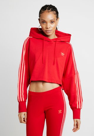 CROPPED HOOD - Kapuzenpullover - red