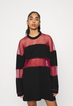 The Ragged Priest - FISHNET SKATER DRESS - Robe en jersey - black/red