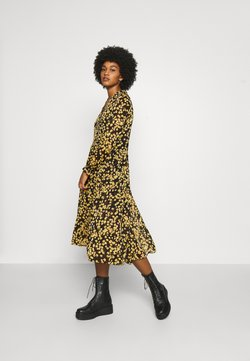 Tommy Jeans - PRINTED MIDI SHIRT DRESS - Blusenkleid - black/yellow